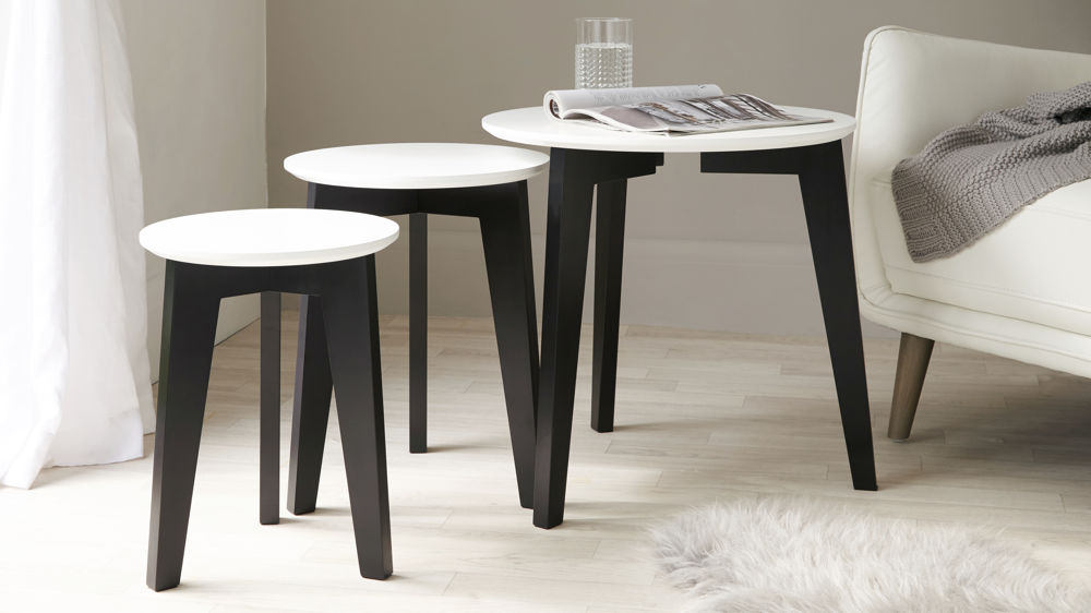 Modern Black and White Nest of Tables
