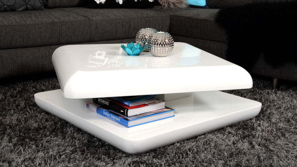 Stylish White High Gloss Coffee Table Square Funky Occasional Table