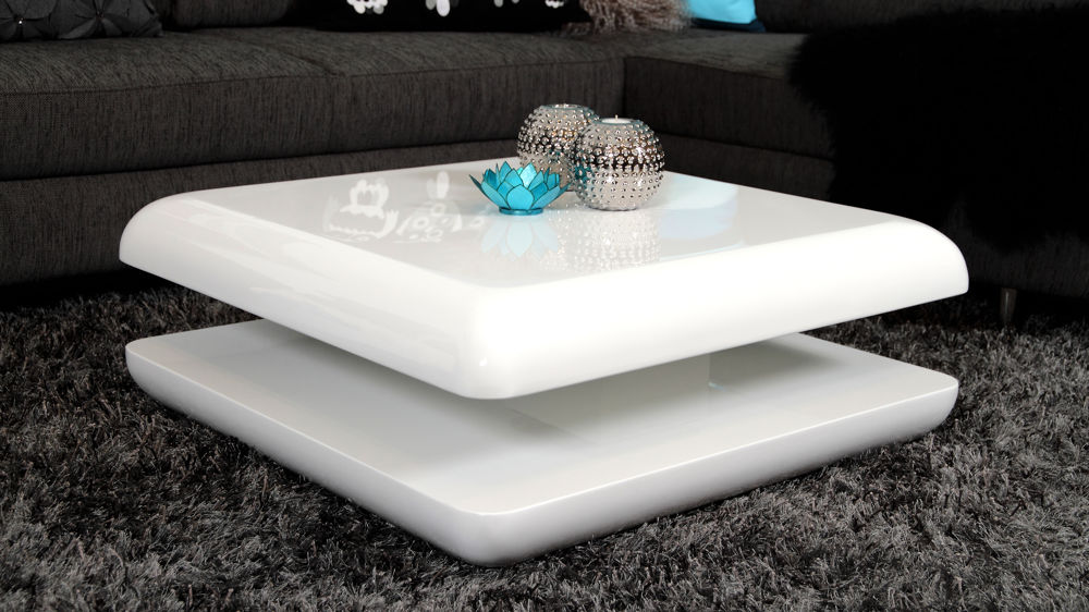 Stylish White High Gloss Coffee Table Square Funky