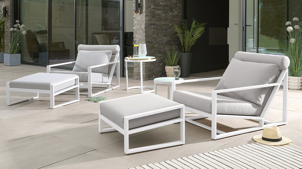 Cala white glass side tables