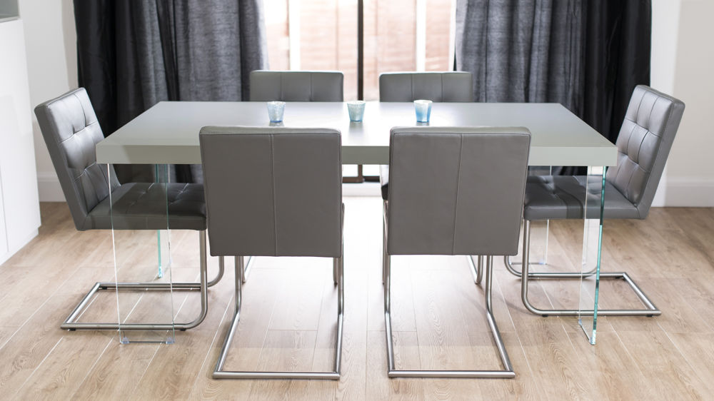 Grey Dining Room Chairs: Grey Oak Dining Table With Glass Legs