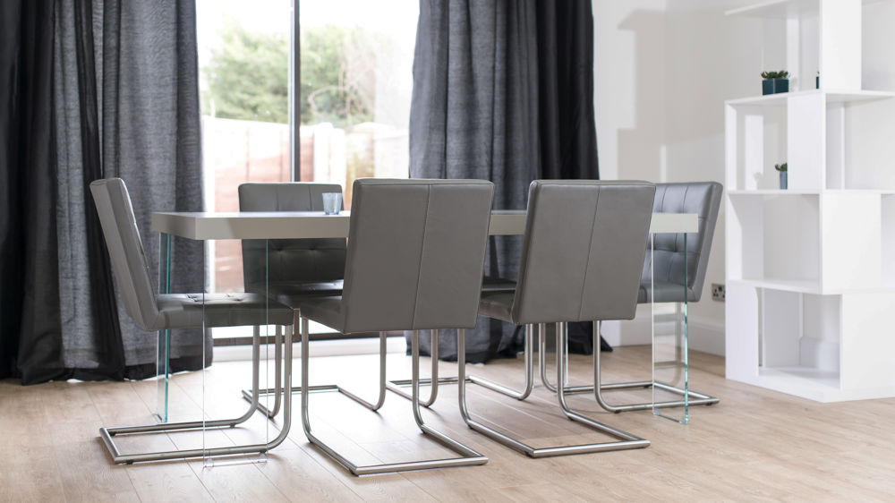 Stylish Cantilever Dining Chairs and Floating Grey Dining Table