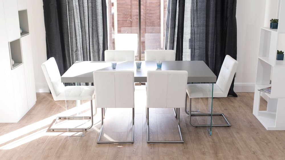 Modern White Dining Chairs and Grey Floating Dining Table