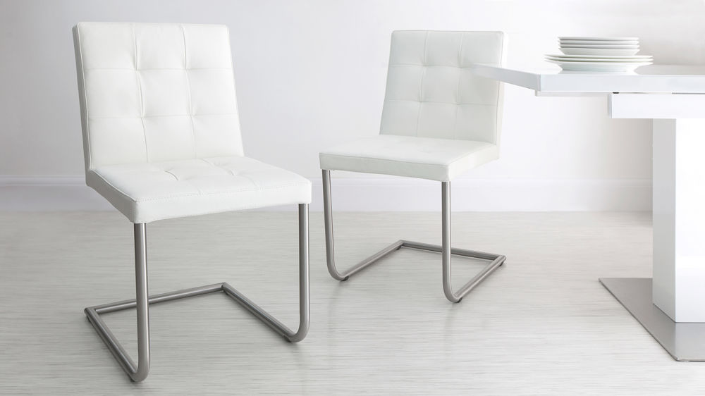 Contemporary White Real Leather Dining Chairs