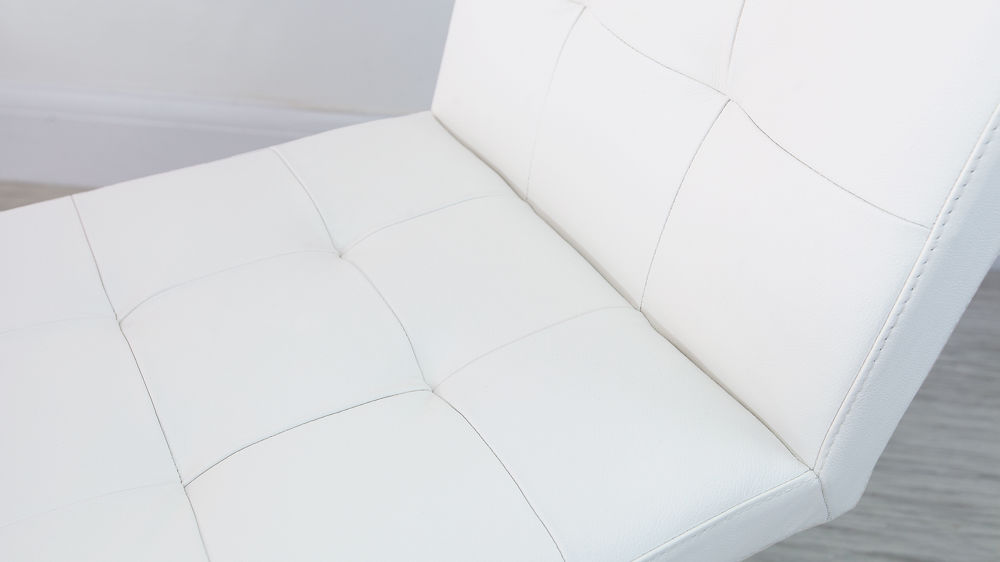 Modern White Quilted Dining Chairs