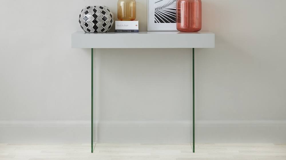 Modern Glass and Grey Oak Console Table