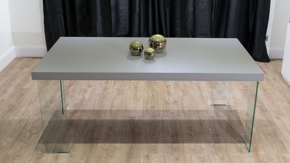 4-6 Seater Grey Dining Table with Glass Legs
