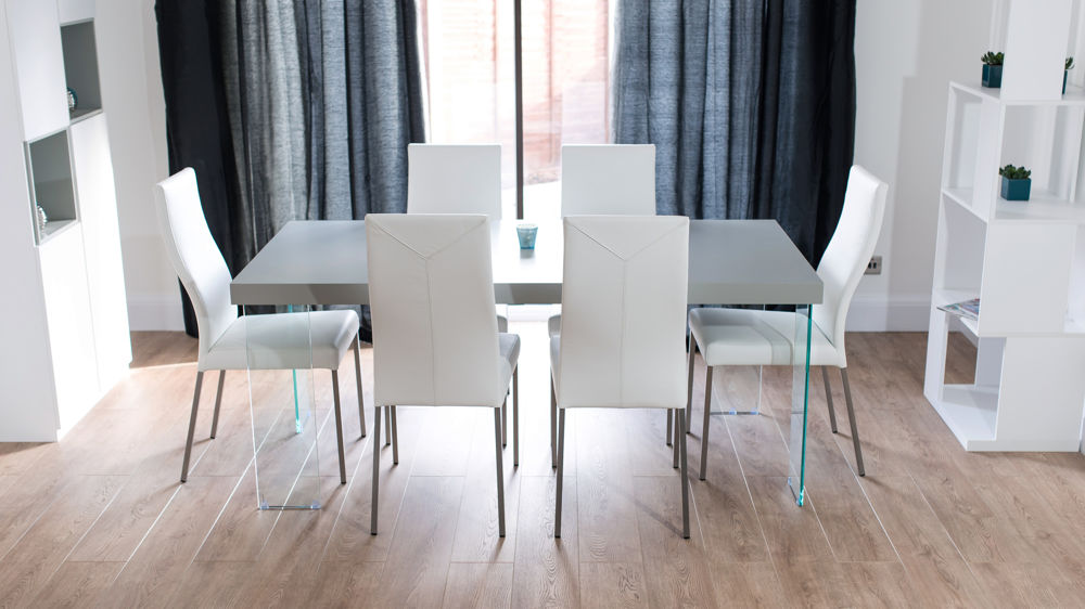 Real Leather Dining Chairs and Grey Dining Table