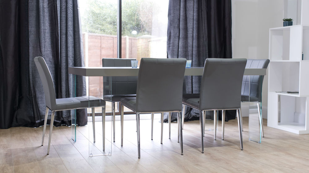 Contemporary Glass Based Dining Table and Modern Dining Chairs