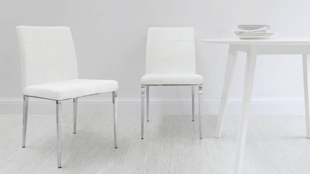 Dining Chairs With Chrome Tapered Legs And Floor Protectors