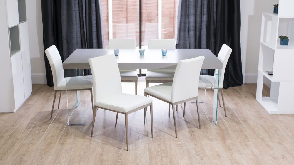 Comfortable Dining Chairs and Grey Oak and Glass Dining Table