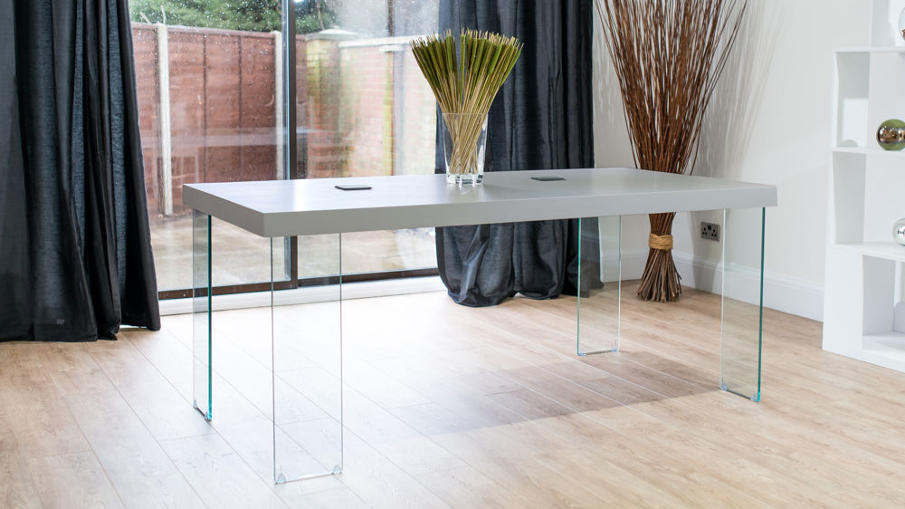Large Grey Dining Table with Stylish Glass Legs