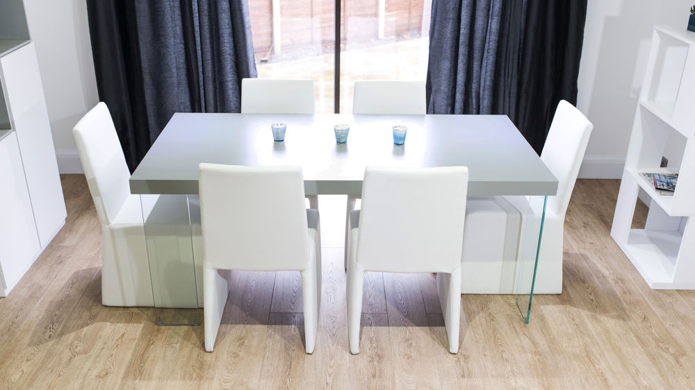 Stylish White and Grey Dining Set