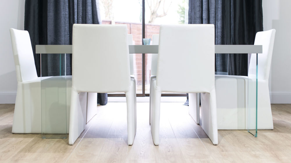 White Dining Chairs and and 4-6 Seater Dining Table