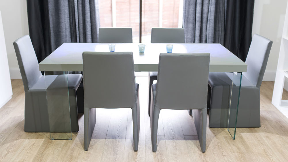 Contemporary Large Grey Dining Set