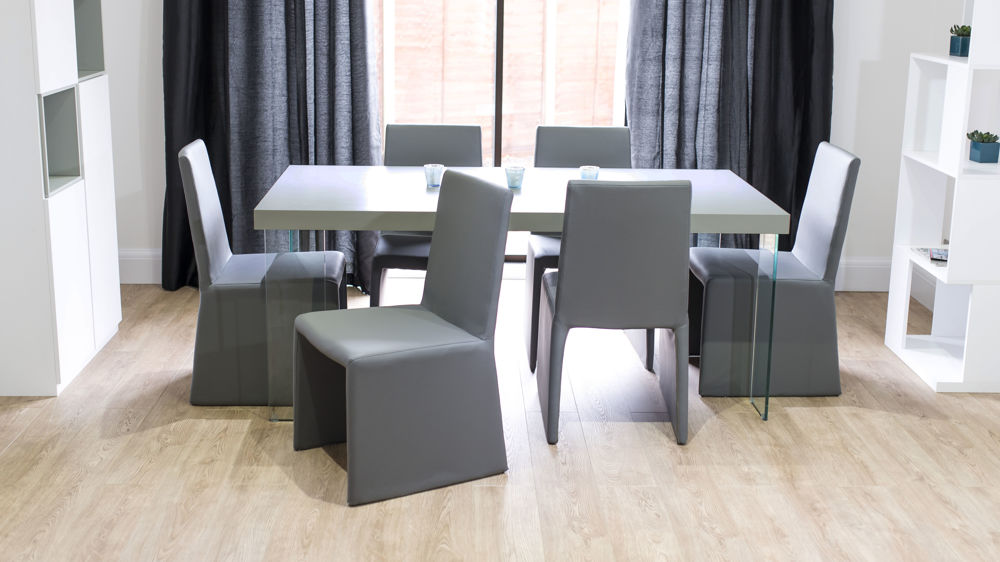Box Style Dining Chairs and Grey Dining Table