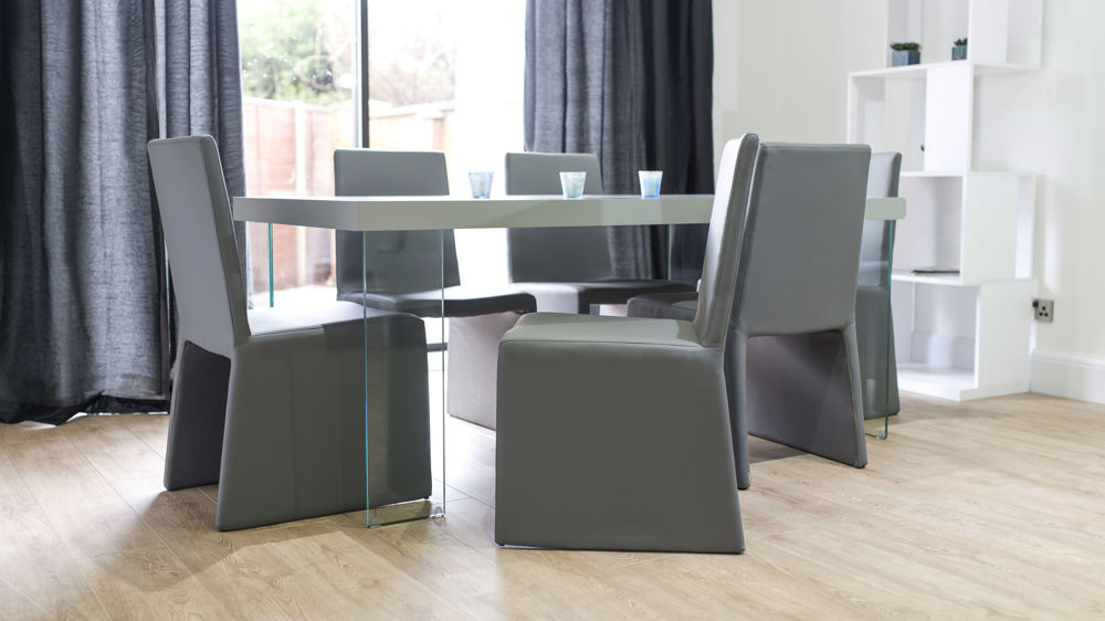 Floating Dining Table and Grey Dining Chairs