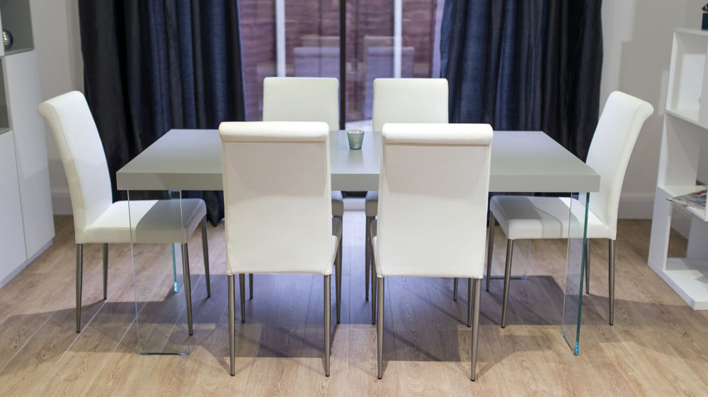 Modern 4-6 Seater Dining Table and Real Leather Dining Chairs