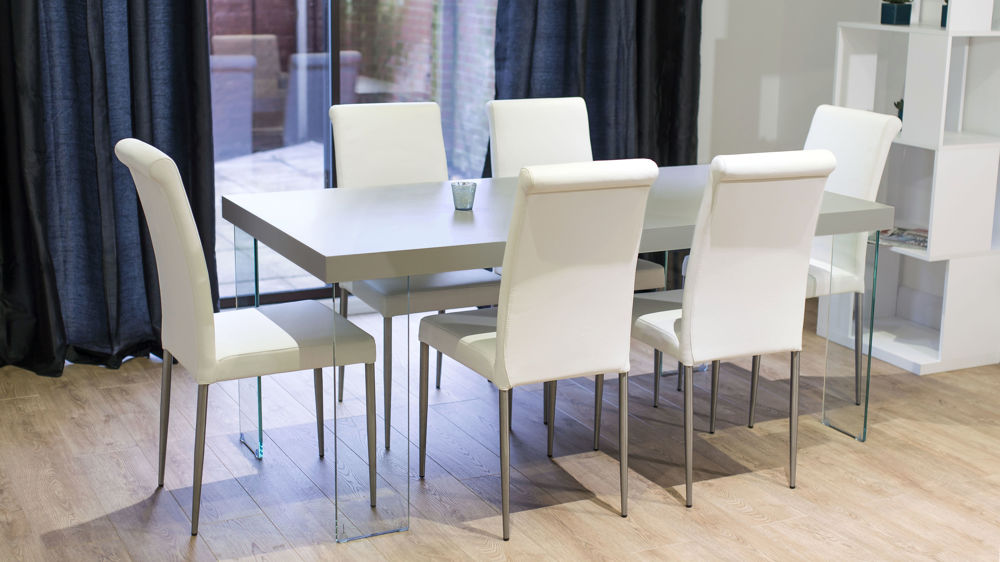 Real Leather Dining Chairs and Grey Floating Dining Table