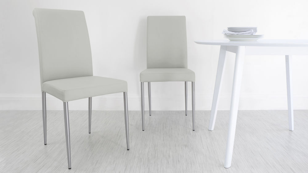 Modern Grey Real Leather Dining Chairs