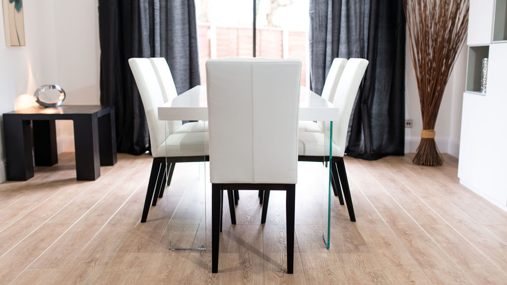 4-6 Seater White Gloss Dining Table and White Dining Chairs