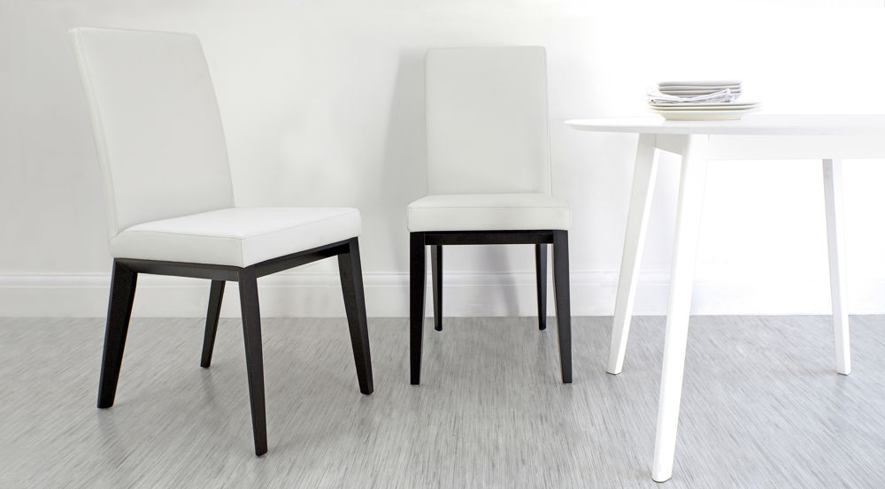 White Leather Modern Dining Chairs