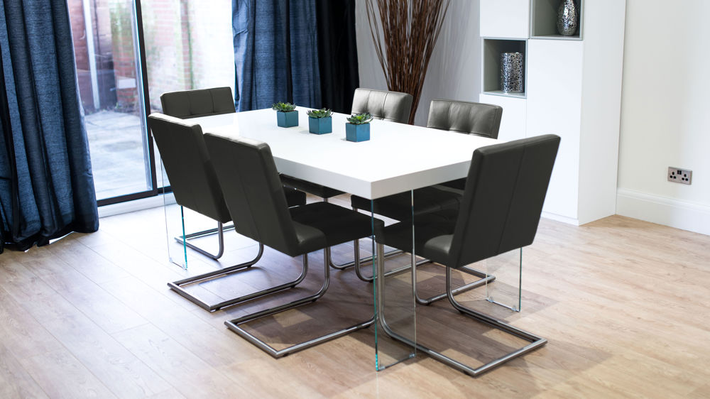 Black and White 6 Seater Dining Set