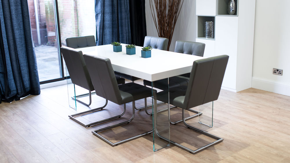 6 Seater White Gloss Dining Table and Grey Chairs