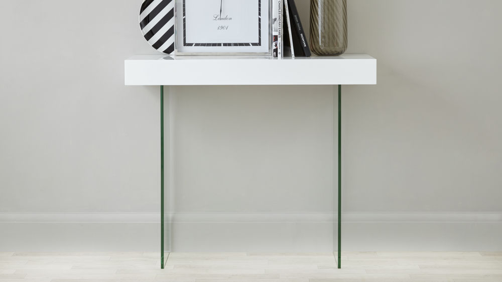White Gloss and Glass Console Table