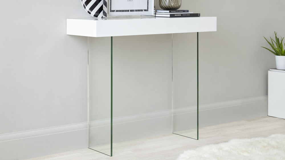 Genial White Gloss And Glass Leg Modern Console Table