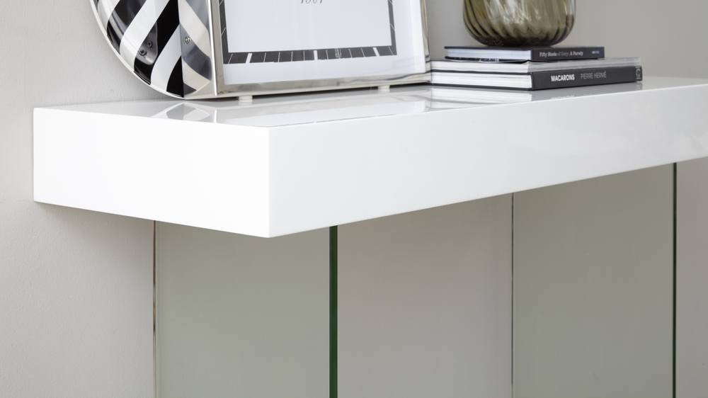 Calanna White Gloss And Glass Console Table Danetti