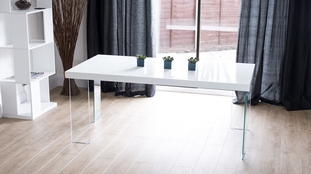 Modern White Gloss Dining Table Glass Legs Seats 6 8