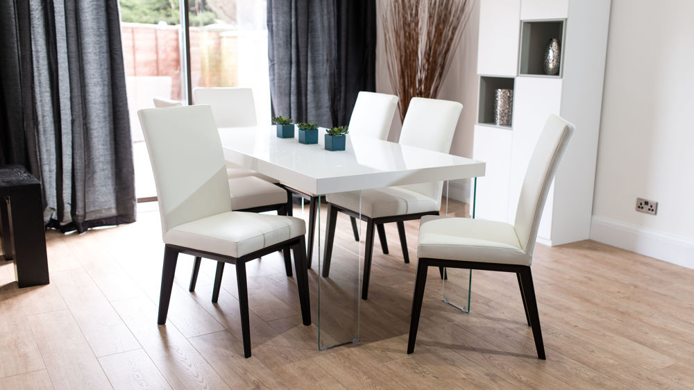White Gloss Dining Table with Modern Real Leather Dining Chairs