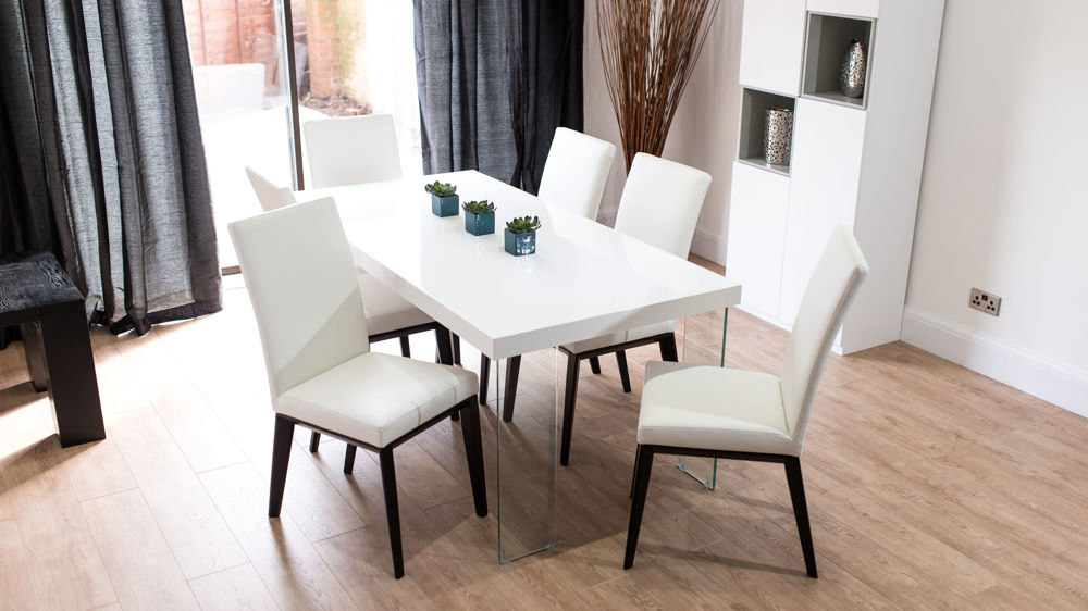 Real Leather Dining Chairs and White Floating Dining Table