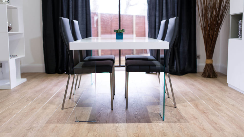 White Gloss and Glass Dining Table with Black Dining Chairs