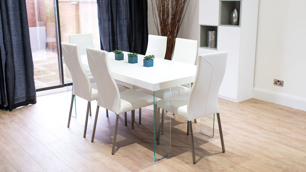 4-6 Seater White Gloss Dining Set