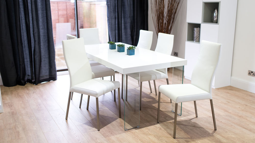 White Dining Chairs and White Gloss Floating Dining Table