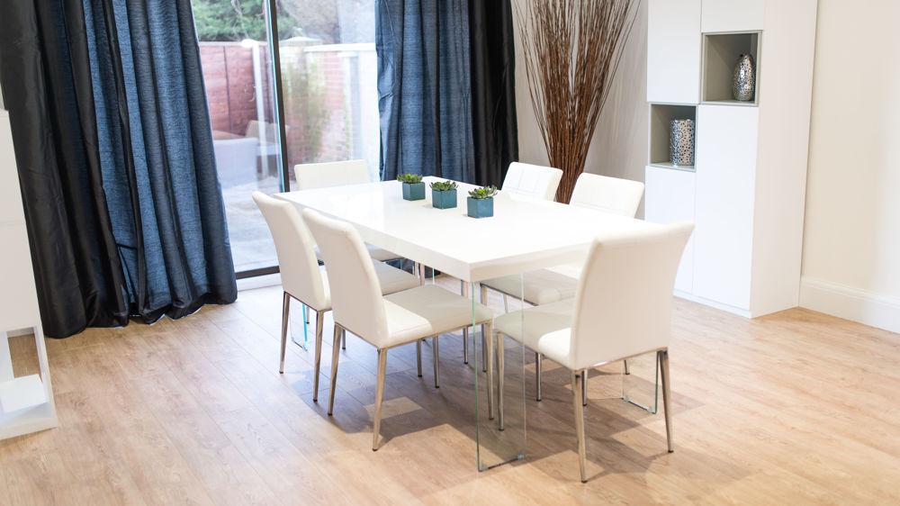 Modern Large White Gloss Dining Sets UK Glass Legged Table And Chairs