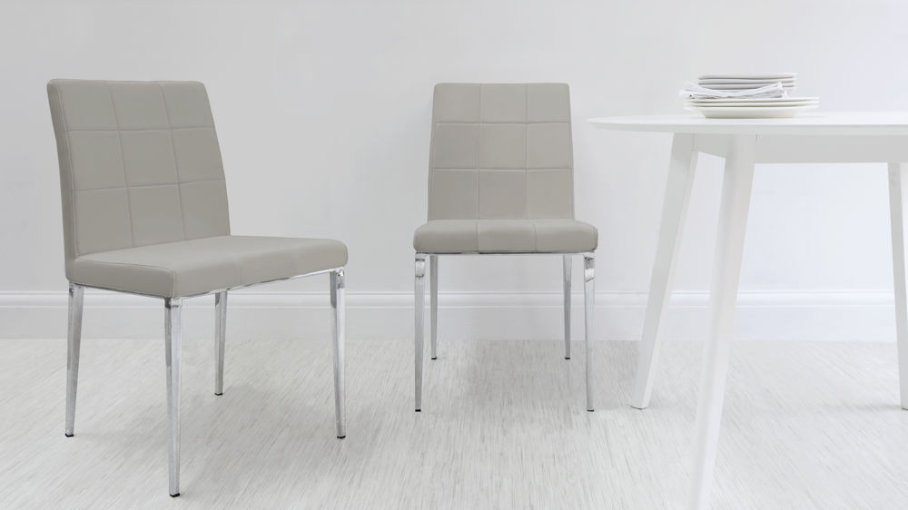 Chunky White Gloss Table With Glass Legs Modern Quilted Dining Chairs