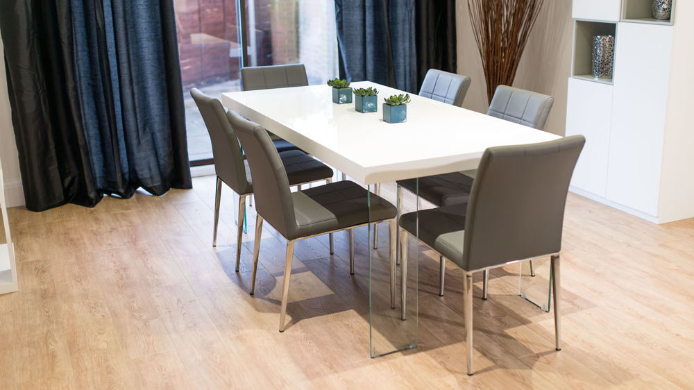 6 Seater White Gloss Dining Table and Grey Dining Chairs