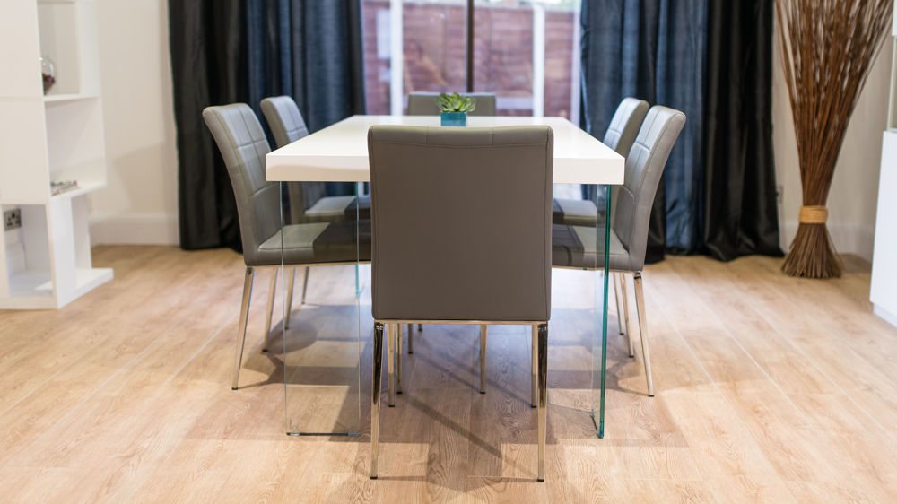 Floating Dining Table and Grey Quilted Dining Chairs
