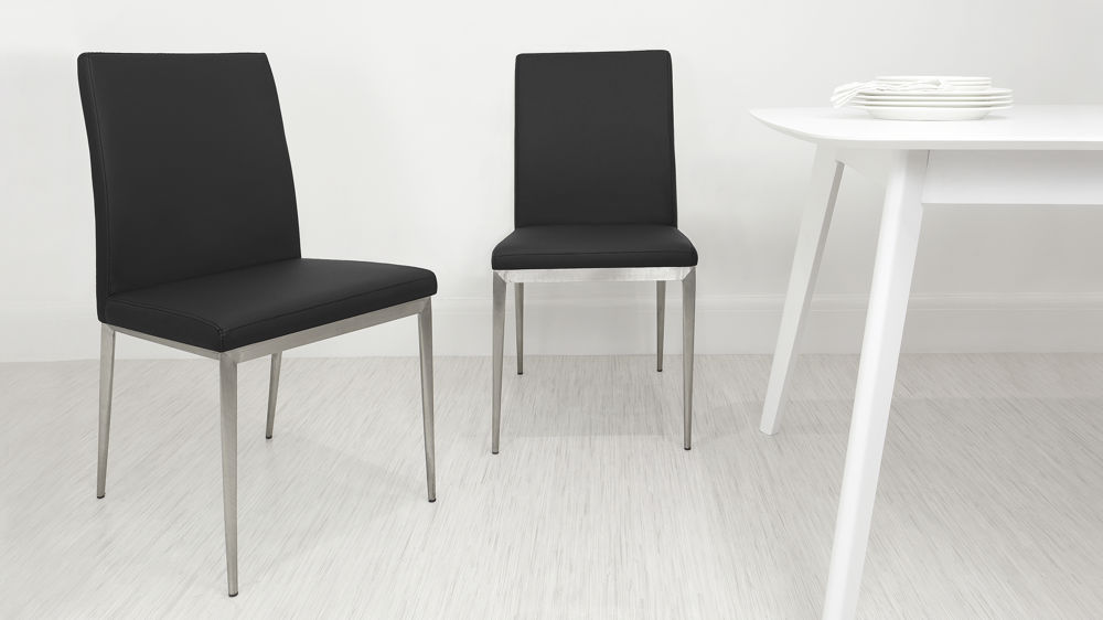 Modern Black Dining Chairs with Metal Legs