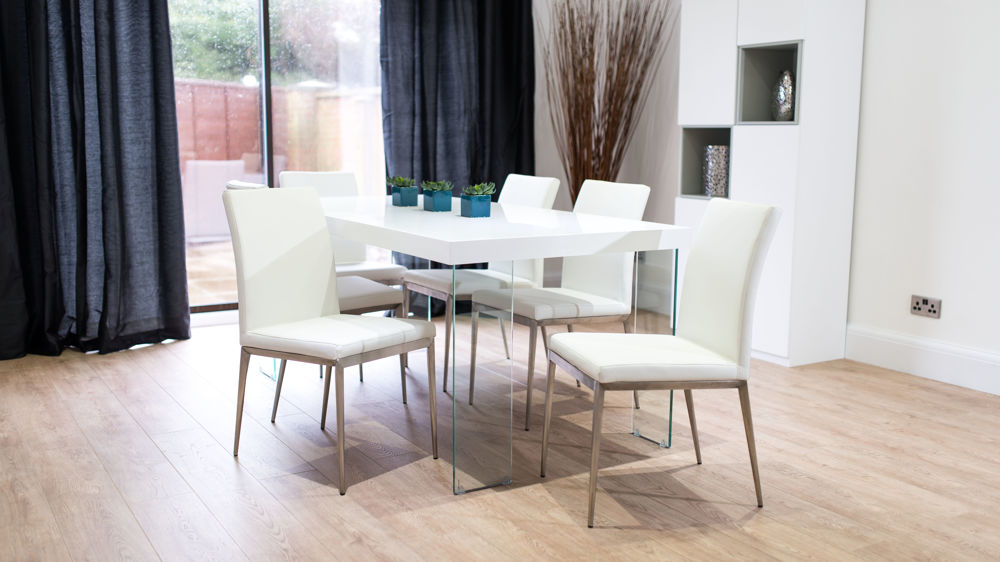 6 Seater White Gloss Dining Table with White Dining Chairs