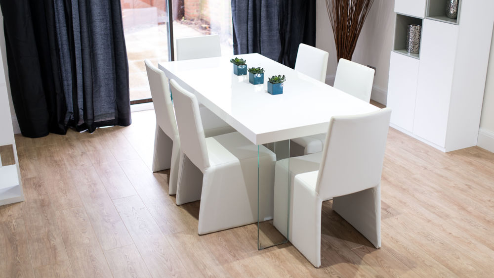 Chunky White Gloss Table With Glass Legs Funky White Or