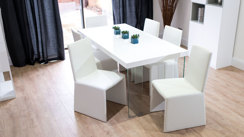 Box Design Dining Chairs and White Gloss Dining Table