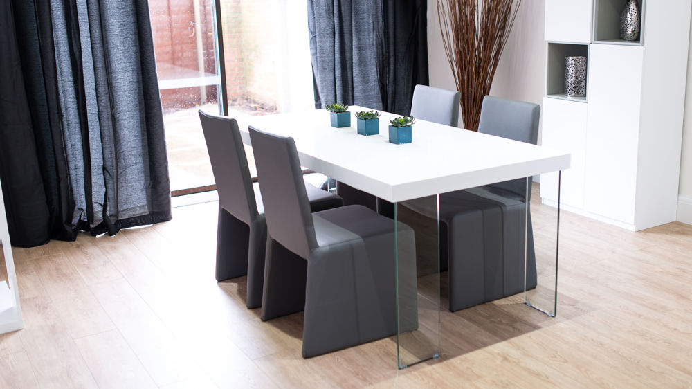 Stylish White Gloss and Faux Leather Dining Set
