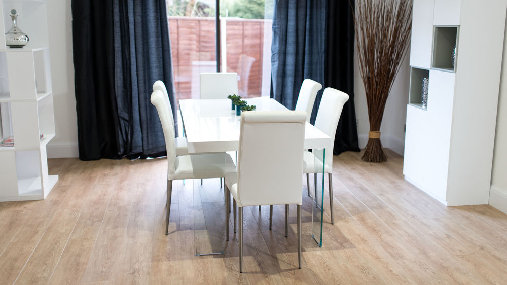 6 Seater White Gloss Dining Table and Real Leather Dining Chairs