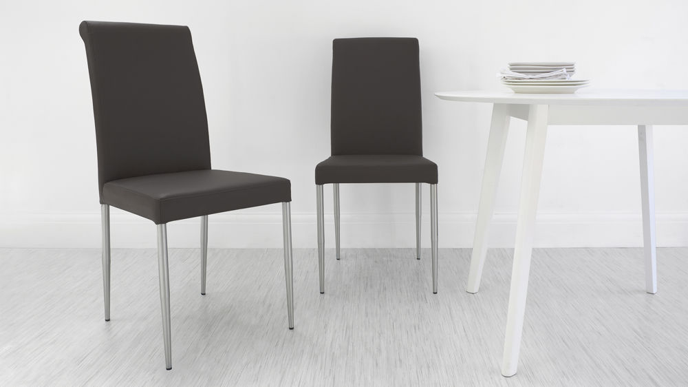 Brown Real Leather Dining Chairs UK