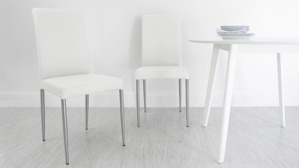 White Real Leather Dining Chairs UK