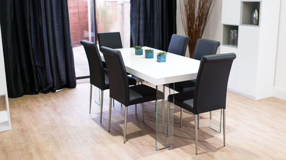 Modern Black Dining Chairs and White Gloss Dining Table